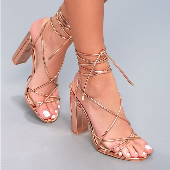 037dd20aee7 NeNe Rose gold lace up block heel. NWT. Lulu s